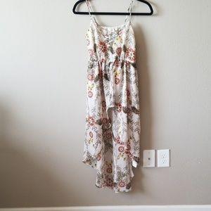 Asymmetrical top blouse dress hi low summer floral